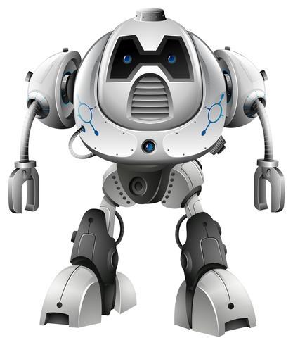 Robot aux yeux bleus sur fond blanc