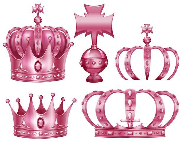Design diferente de coroas na cor rosa