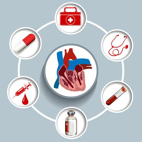 Infografía con equipamiento médico.
