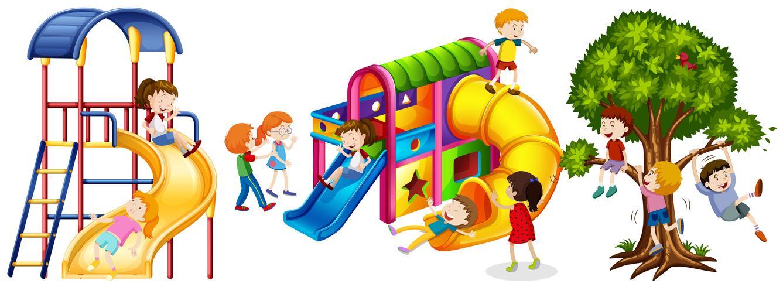 Crianças brincando em slides