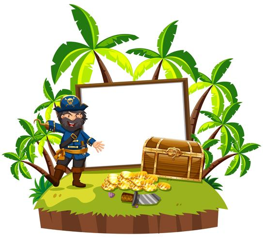 A Pirate and Blank Board on Island