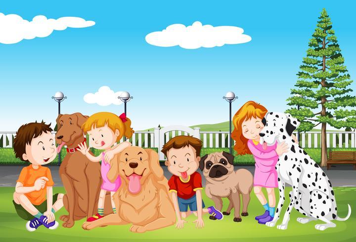 Los niños y sus mascotas en el parque.