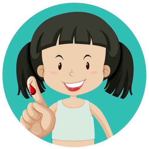 Ein Mädchen, das am Finger blutet