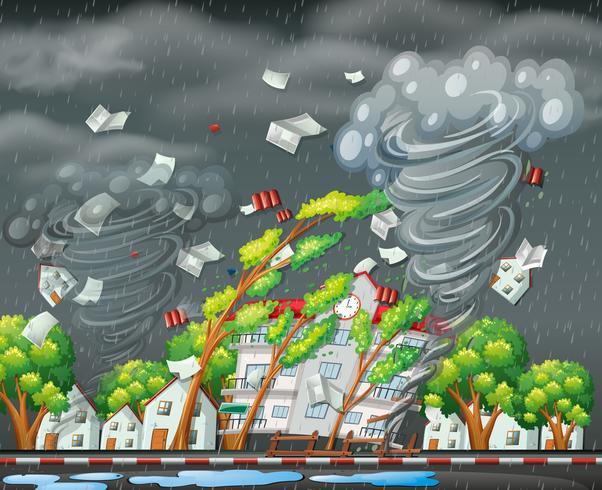 Destruktiva tornado stad scen