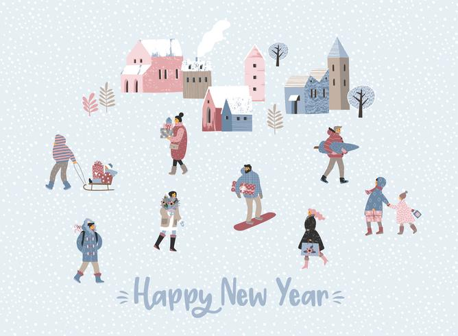 Christmas and Happy New Year illustration whit people. vector
