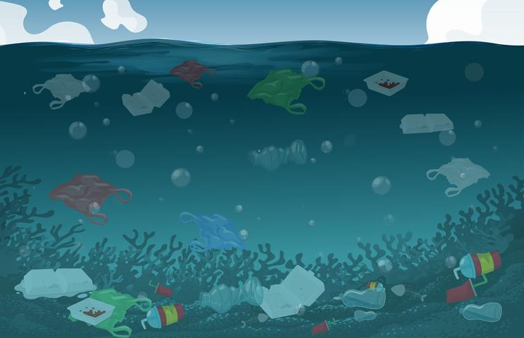 Sfondo di inquinamento delle acque della natura