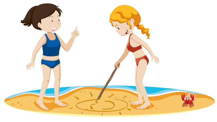 Girls Drawing Sun at the Sand