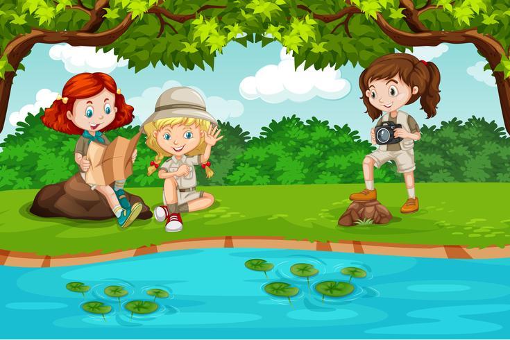 Camping niños en la naturaleza