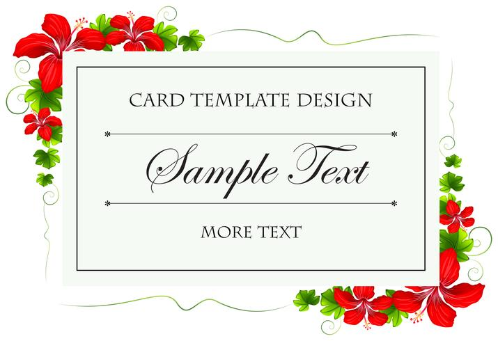 Card template with flowers and leaves