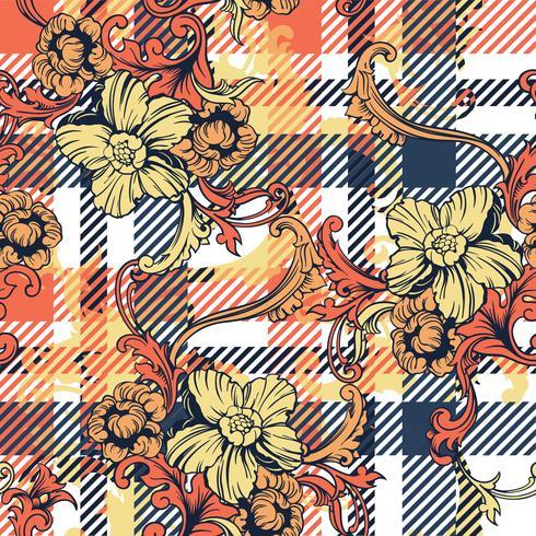 Teste padrão sem emenda da manta eclética da tela com ornamento barroco.