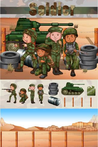 Soldiers fighting in the battle field - Download Free Vector Art, Stock Graphics & Images