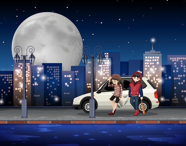 Bad adolescentes na rua da cidade