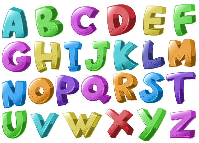 Diseño de fuentes con alfabetos en inglés.