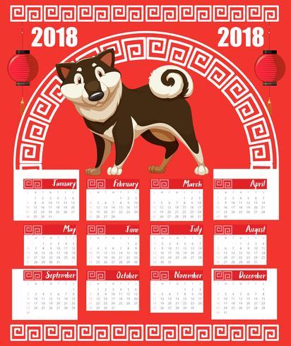 Modelo de calendário com o ano do cão para 2018