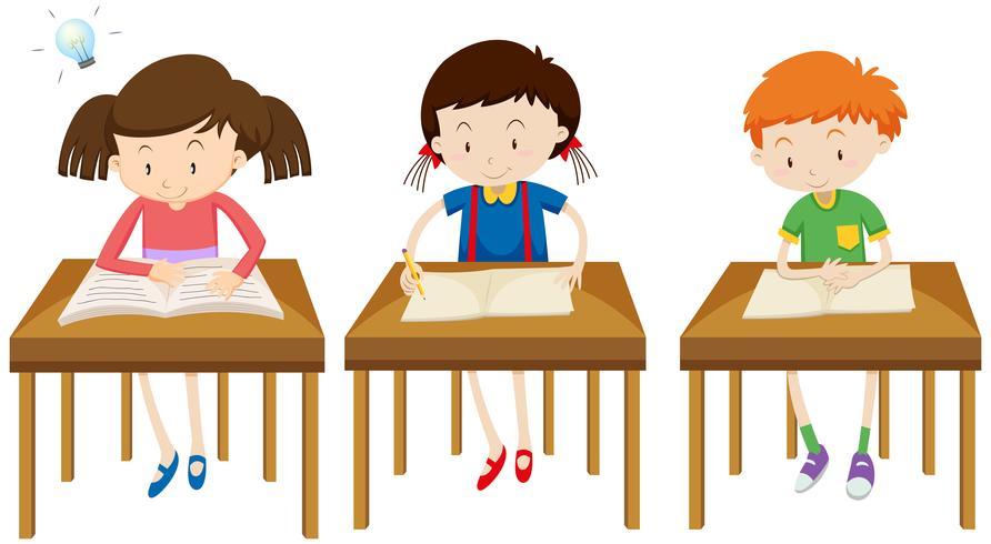 Estudiantes estudiando sobre fondo blanco