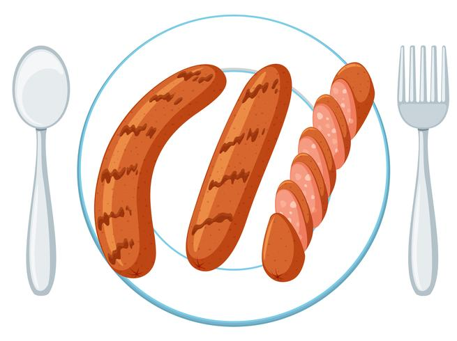 Plate with three sausages vector
