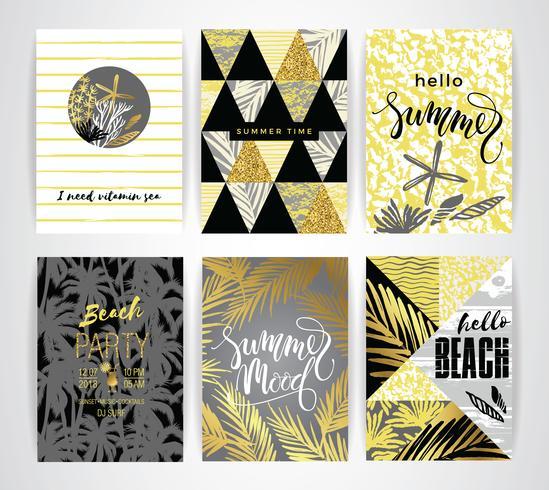 Conjunto de tarjetas de verano con elementos de dibujo a mano.