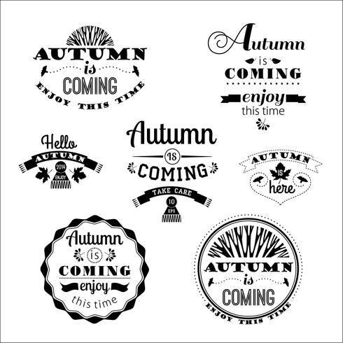 Conjunto de etiquetas y signos de otoño