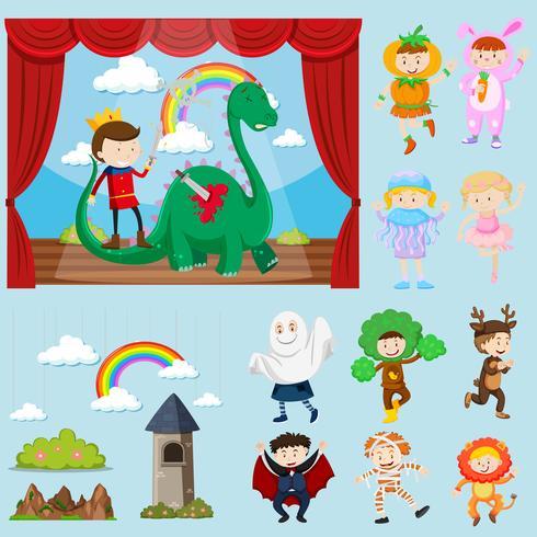 Bühnenszenen mit verschiedenen Charakteren