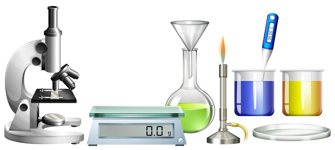 Science beakers and other equipment vector