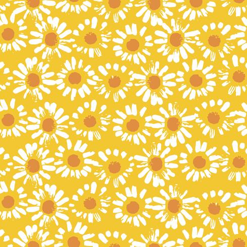 Abstract floral seamless pattern with chamomile. Trendy hand drawn textures vector