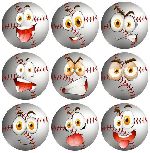 Baseball con espressione facciale