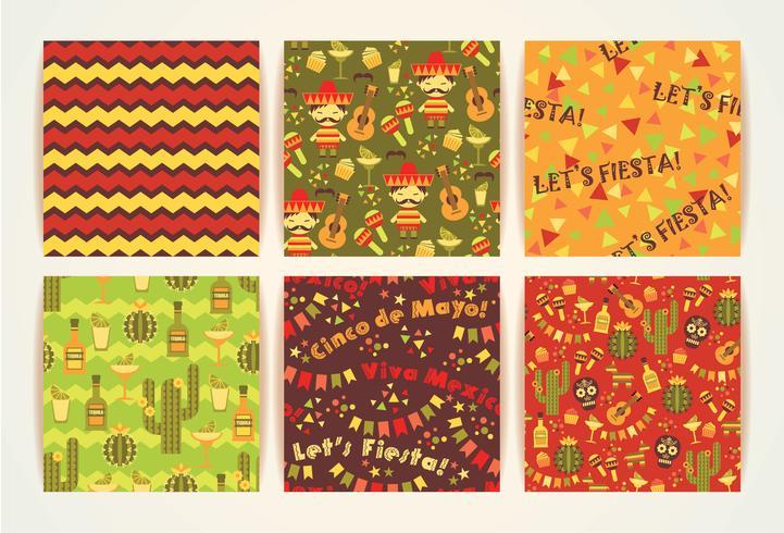 Conjunto de patrones sin fisuras vector con símbolos tradicionales mexicanos