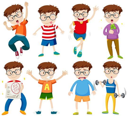 Pojke med glasögon i olika handlingar