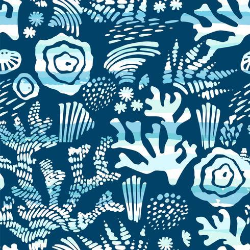 Vector mar de patrones sin fisuras con texturas dibujadas a mano