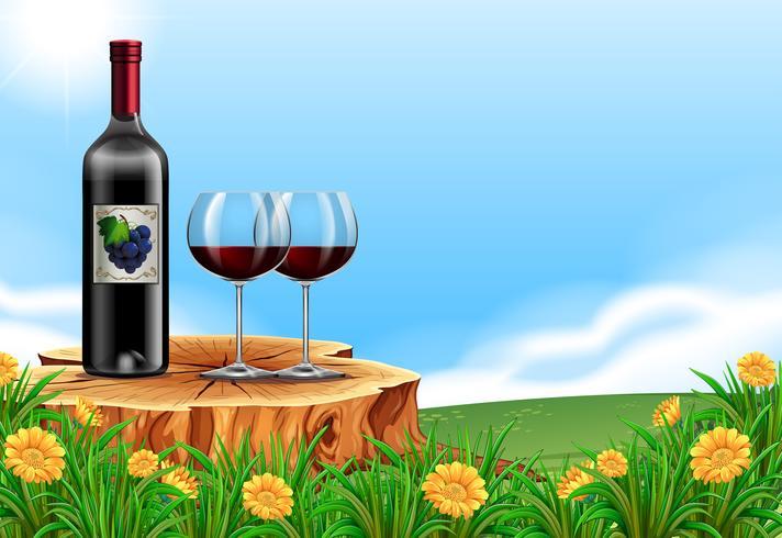 Vin rouge dans la scène de la nature