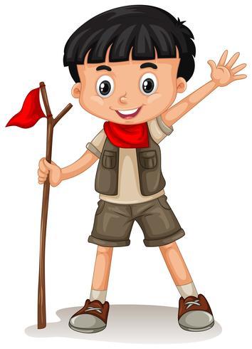 Un lindo boy scout sobre fondo blanco