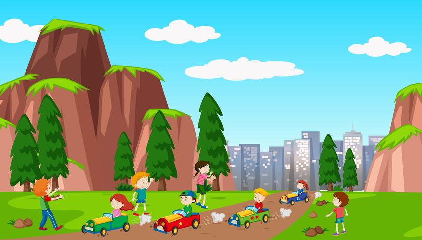 School Kids Racing a Car