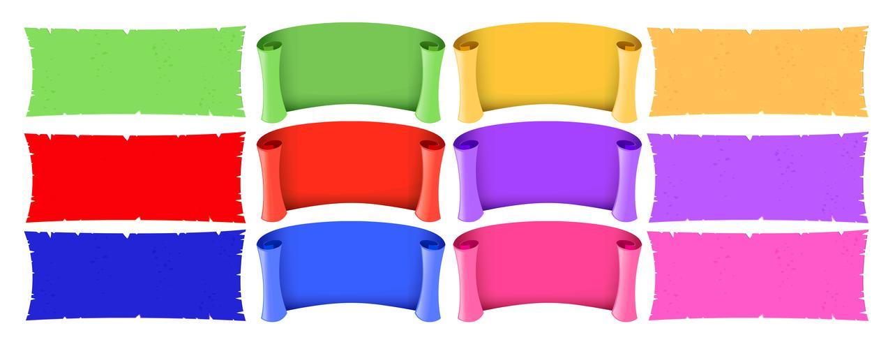 Différents modèles de bannières de différentes couleurs