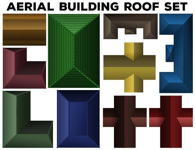 Conjunto de telhado de edifício aéreo