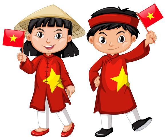 Vietnamees meisje en jongen in rood kostuum