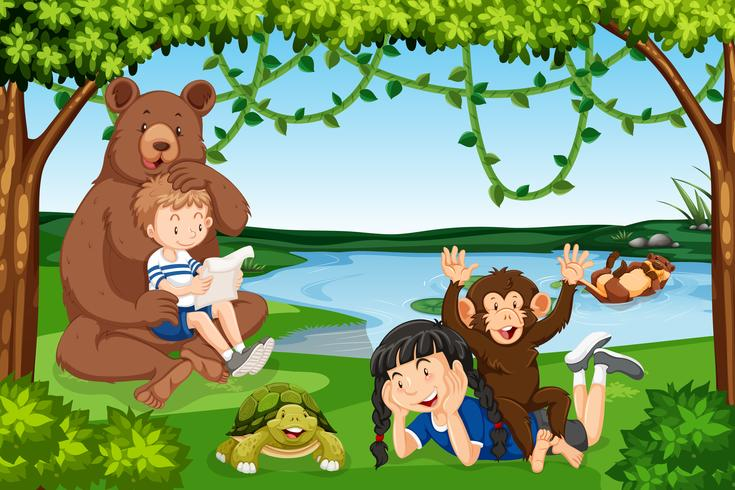Barn med vilda djur scen