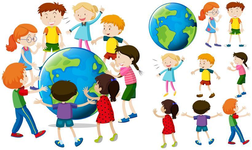 Niños alrededor de la tierra