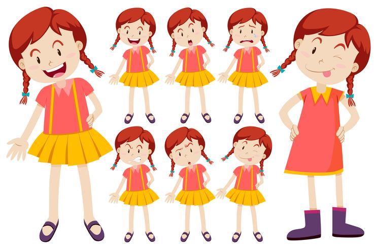 Mädchen mit verschiedenen Gesichtsausdrücken