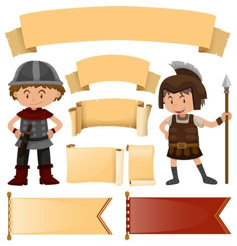 Modelo de banner em estilos medievais e soldados