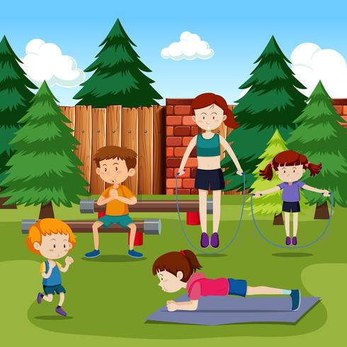 Människor tränar i parken vektor