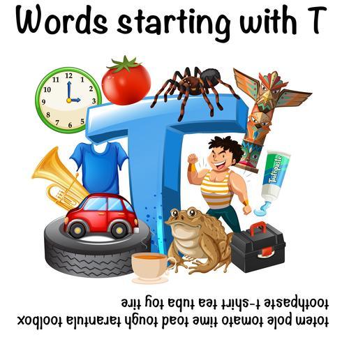 Design de cartaz para palavras que começam com T