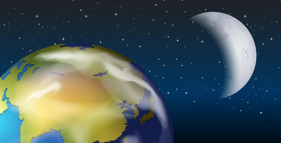 En rymdvy av jorden och månen