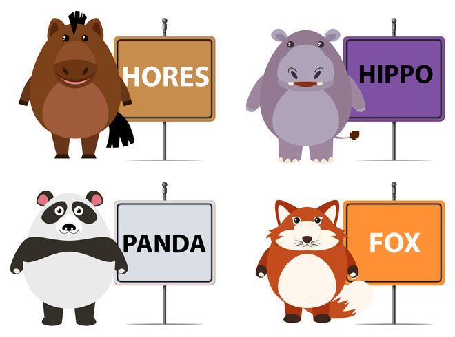 Animali selvaggi e nomi sui segni