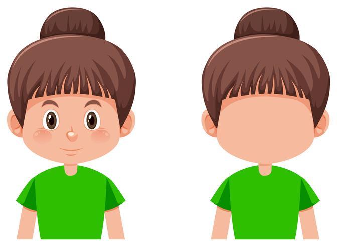 Set of girl with brunette bun hair