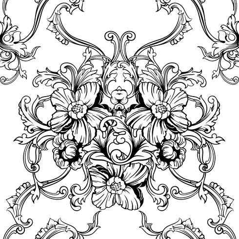 Seamless vector background. Baroque pattern.