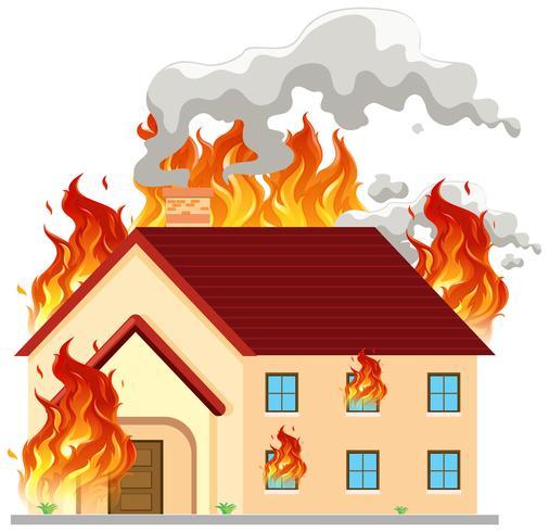 Isoliertes modernes Haus in Brand