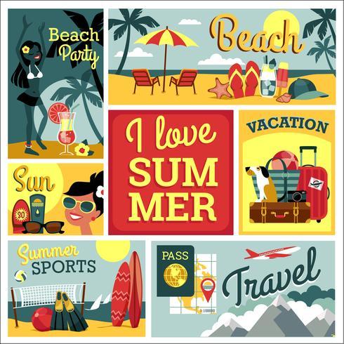 I love summer. Vector illustration of traditional  vacatio