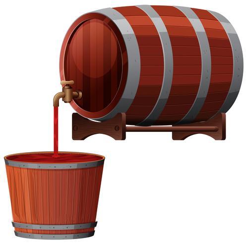 Un vector de barril de vino rojo