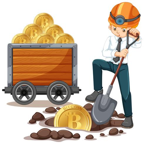 Uma moeda de mineração de trabalhador de escritório