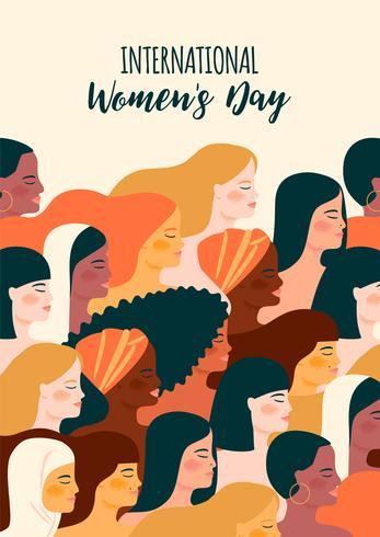 Giornata internazionale della donna. Illustrazione vettoriale con donne diverse nazionalità e culture.